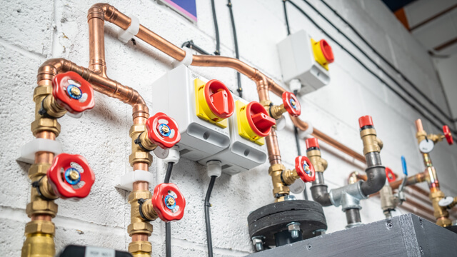 Low angle copper pipes and valves